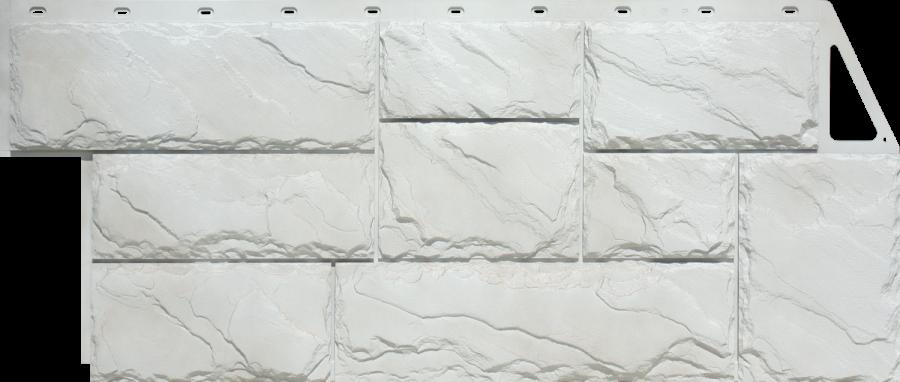 Цокольный сайдинг FineBer - серия крупный камень - белый