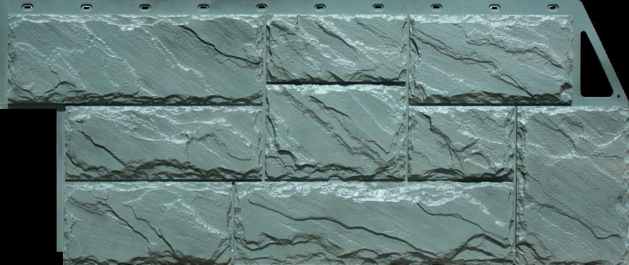 Цокольный сайдинг FineBer - серия крупный камень - серо-зеленый